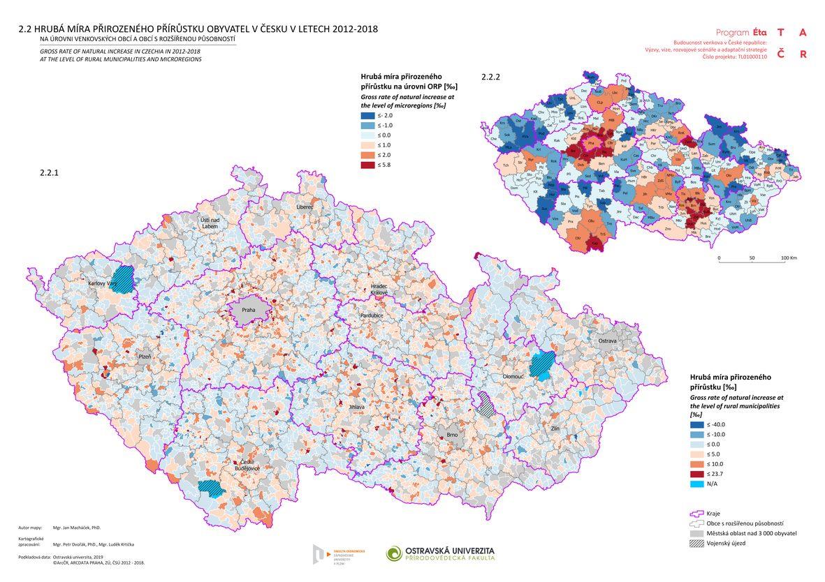 Hrubá míra přirozeného přírůstku obyvatel v Česku v letech 2012–2018 na úrovni venkovských obcí a obcí s rozšířenou působností