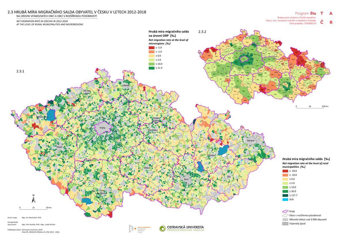 Hrubá míra migračního salda obyvatel v Česku v letech 2012–2018 na úrovni venkovských obcí a obcí s rozšířenou působností