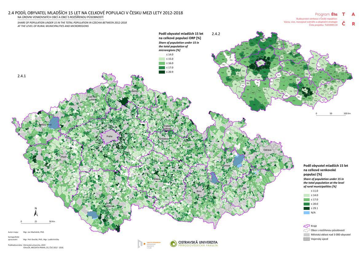 Podíl obyvatel mladších 15 let na celkové populaci v Česku mezi lety 2012–2018 na úrovni venkovských obcí a obcí s rozšířenou působností