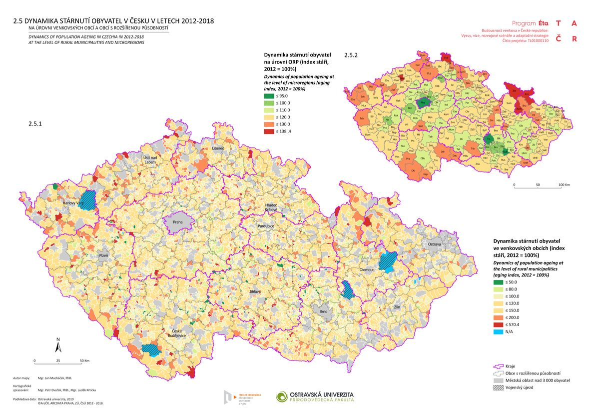Dynamika stárnutí obyvatel v Česku v letech 2012–2018 na úrovni venkovských obcí a obcí s rozšířenou působností