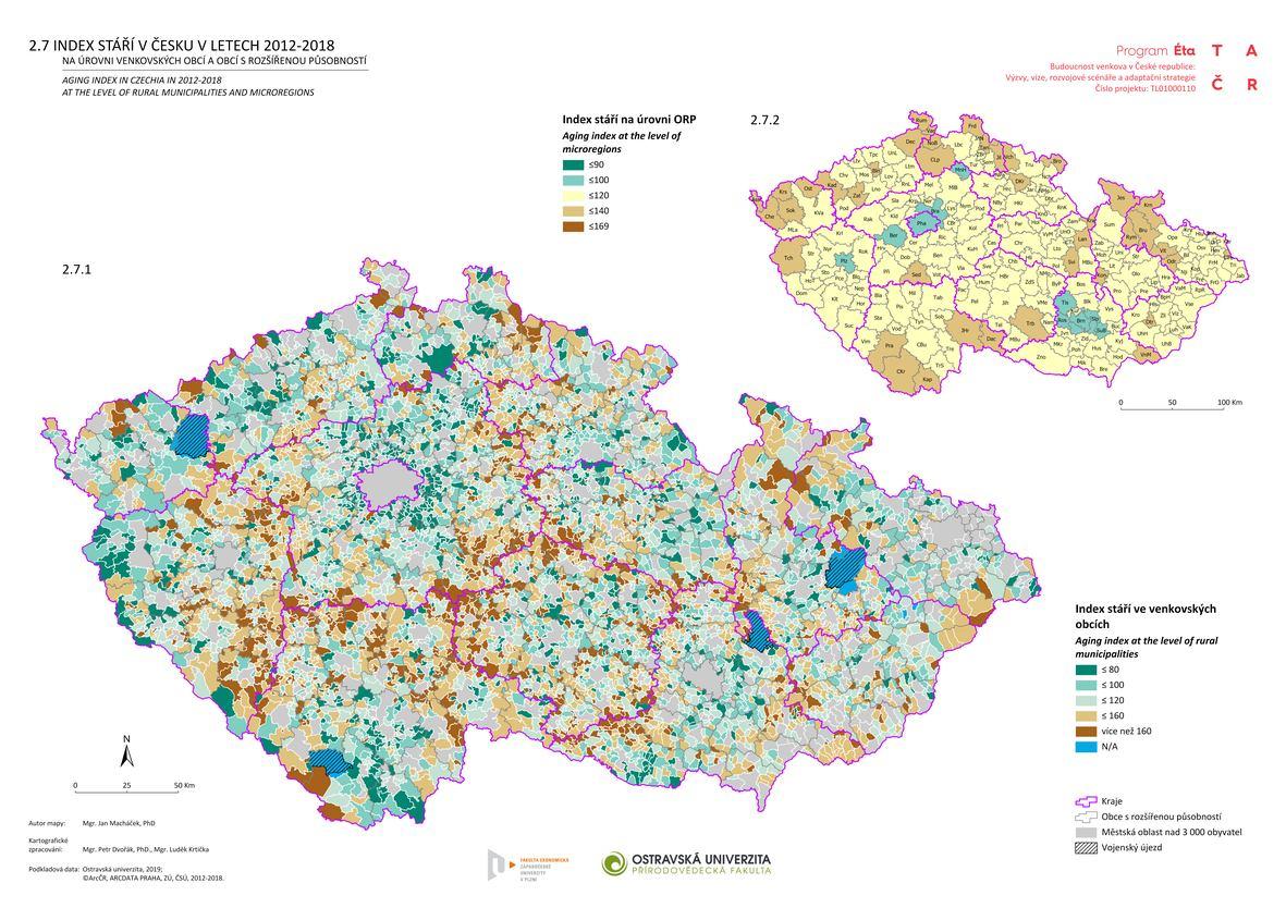 Index stáří v Česku v letech 2012-2018 na úrovni venkovských obcí a obcí s rozšířenou působností