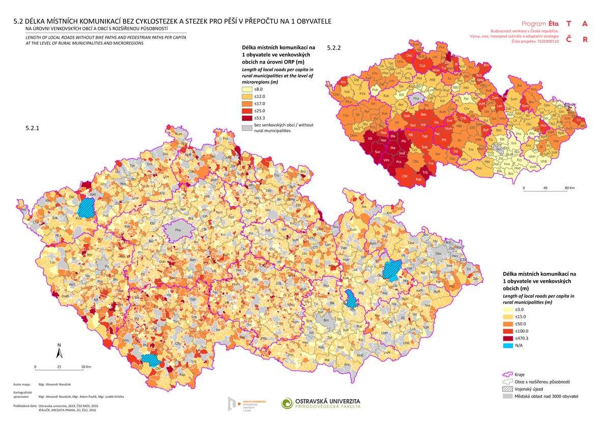 Délka místních komunikací bez cyklostezek a stezek pro pěší v přepočtu na 1 obyvatele na úrovni venkovských obcí a obcí s rozšířenou působností