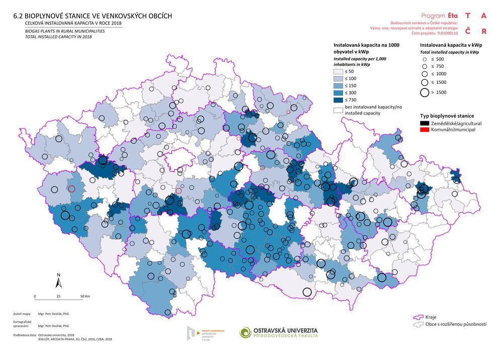 Bioplynové stanice ve venkovských obcích: celková instalovaná kapacita v roce 2018