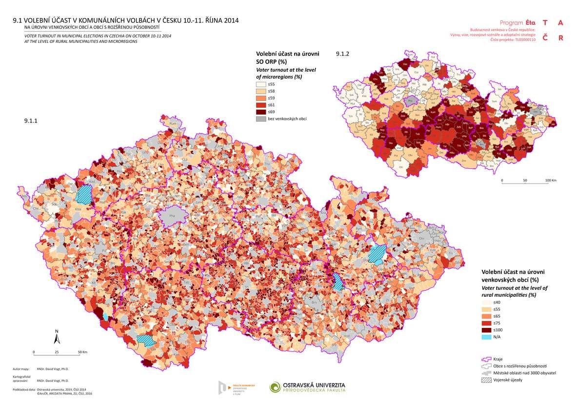 Volební účast v komunálních volbách v Česku 10.-11. října 2014 na úrovni venkovských obcí a obcí s rozšířenou působností