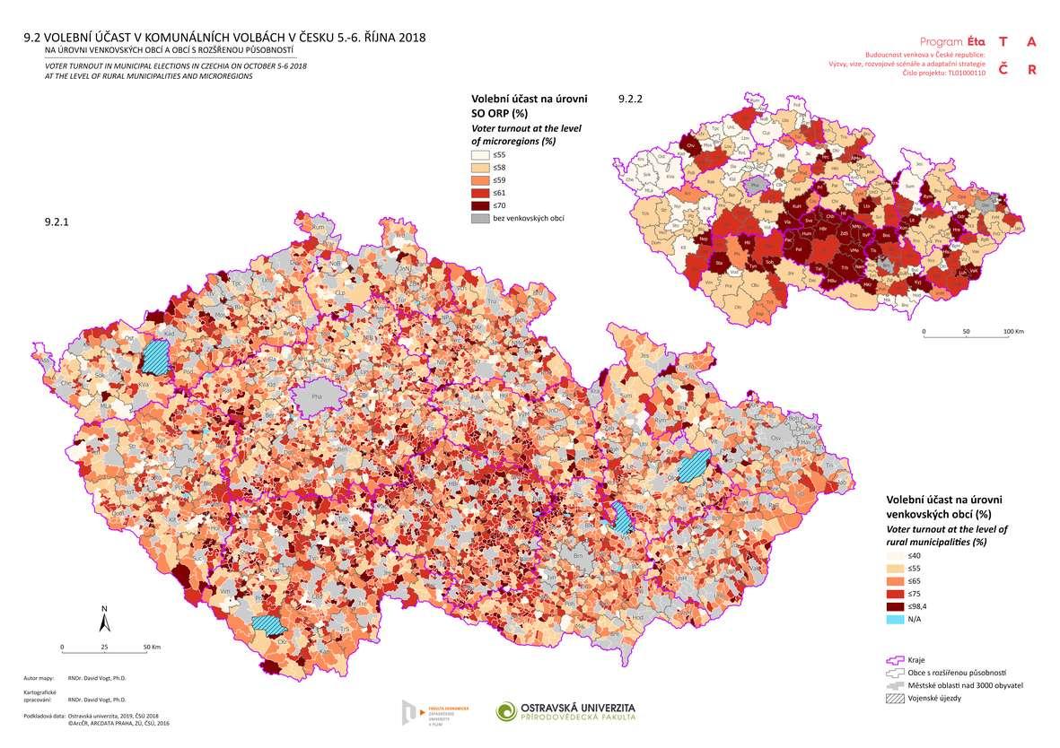 Volební účast v komunálních volbách v Česku 5.-6. října 2018 na úrovni venkovských obcí a obcí s rozšířenou působností