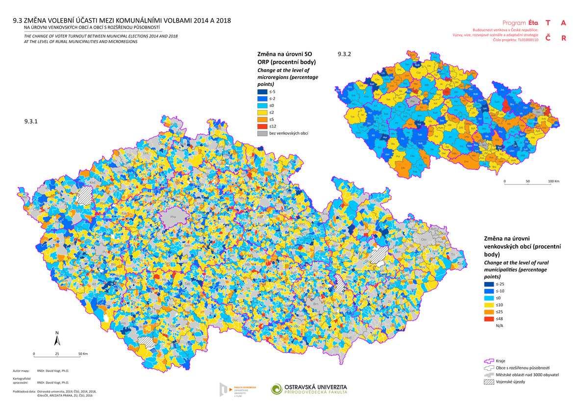Změna volební účasti mezi komunálními volbami 2014 a 2018 na úrovni venkovských obcí a obcí s rozšířenou působností