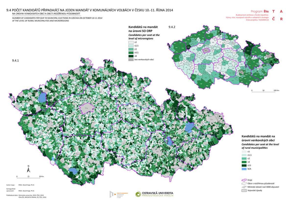 Počet kandidátů připadající na jeden mandát v komunálních volbách v Česku 10.-11. října 2014 na úrovni venkovských obcí a obcí s rozšířenou působností