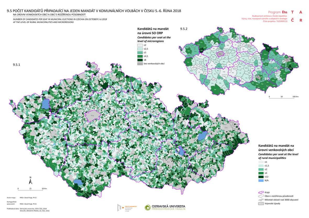 Počet kandidátů připadající na jeden mandát v komunálních volbách v Česku 5.-6. října 2018 na úrovni venkovských obcí a obcí s rozšířenou působností