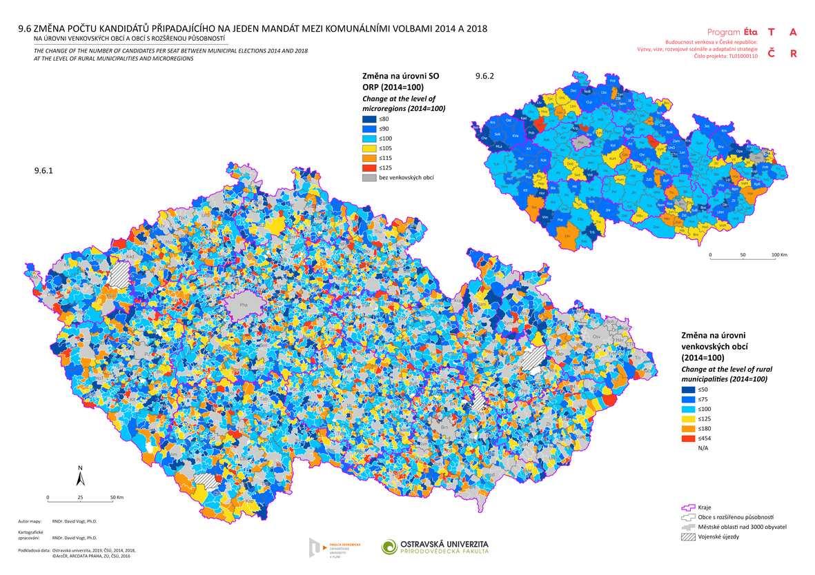 Změna počtu kandidátů připadajícího na jeden mandát mezi komunálními volbami 2014 a 2018 na úrovni venkovských obcí a obcí s rozšířenou působností