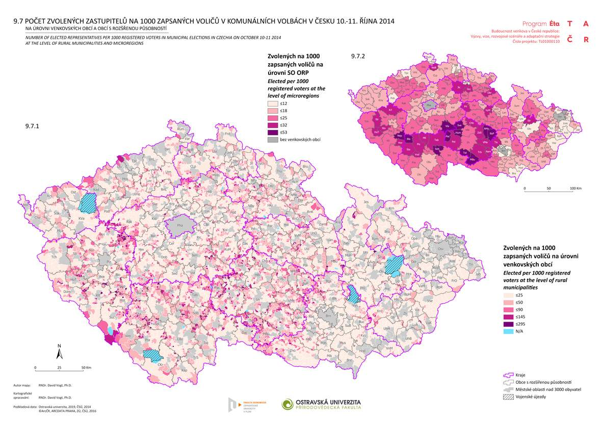 Počet zvolených zastupitelů na 1000 zapsaných voličů v komunálních volbách v Česku 10.-11. října 2014 na úrovni venkovských obcí a obcí s rozšířenou působností