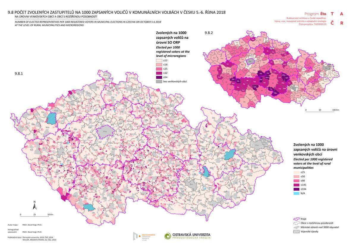 Počet zvolených zastupitelů na 1000 zapsaných voličů v komunálních volbách v Česku 5.–6. října 2018 na úrovni venkovských obcí a obcí s rozšířenou působností