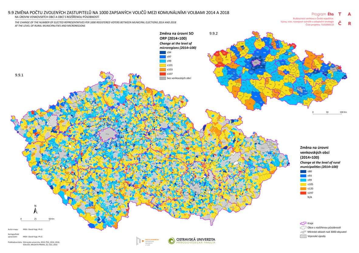 Změna počtu zvolených zastupitelů na 1000 zapsaných voličů v komunálními volbami 2014 a 2018 na úrovni venkovských obcí a obcí s rozšířenou působností