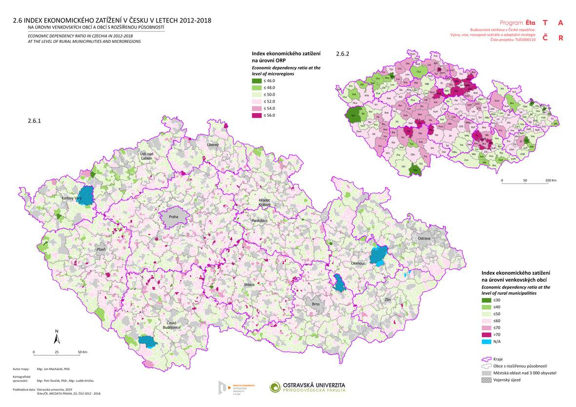 Index ekonomického zatížení v Česku v letech 2012–2018 na úrovni venkovských obcí a obcí s rozšířenou působností