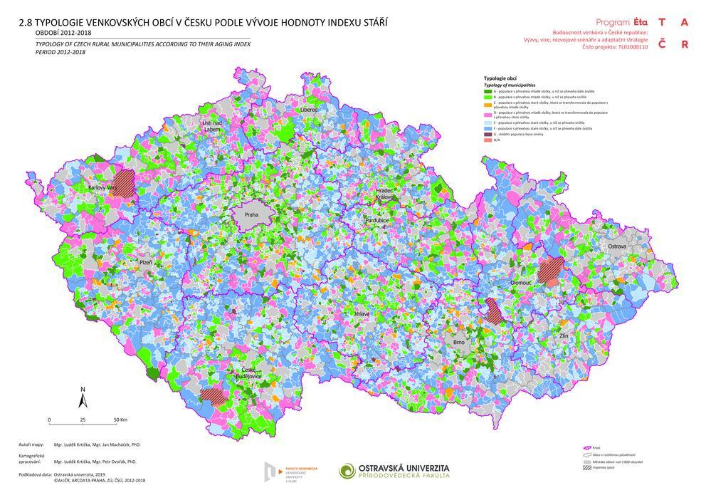 Typologie venkovských obcí v Česku podle vývoje hodnoty indexu stáří v období 2012–2018