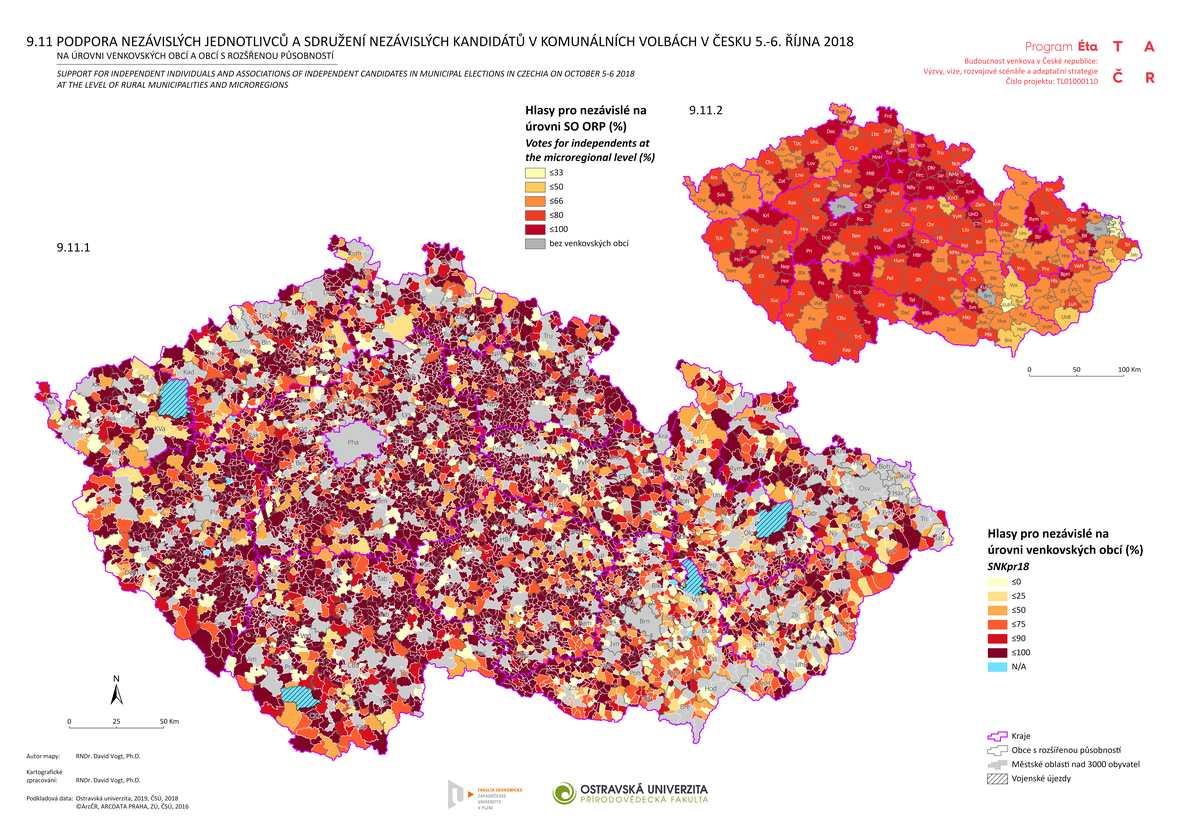 Podpora nezávislých jednotlivců a sdružení nezávislých kandidátů v komunálních volbách v Česku 5.–6. října 2018 na úrovni venkovských obcí a obcí s rozšířenou působností
