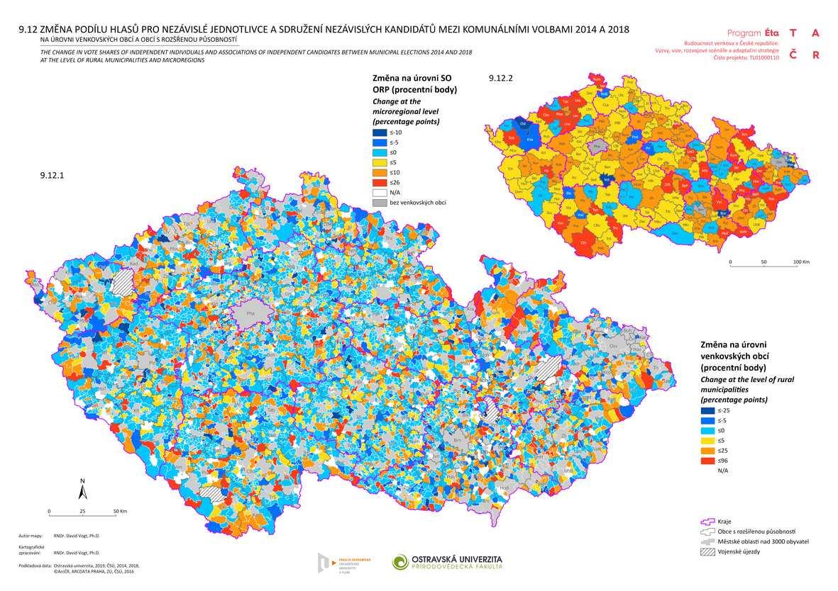 Změna podílu hlasů pro nezávislé jednotlivce a sdružení nezávislých kandidátů mezi komunálními volbami 2014 a 2018 na úrovni venkovských obcí a obcí s rozšířenou působností
