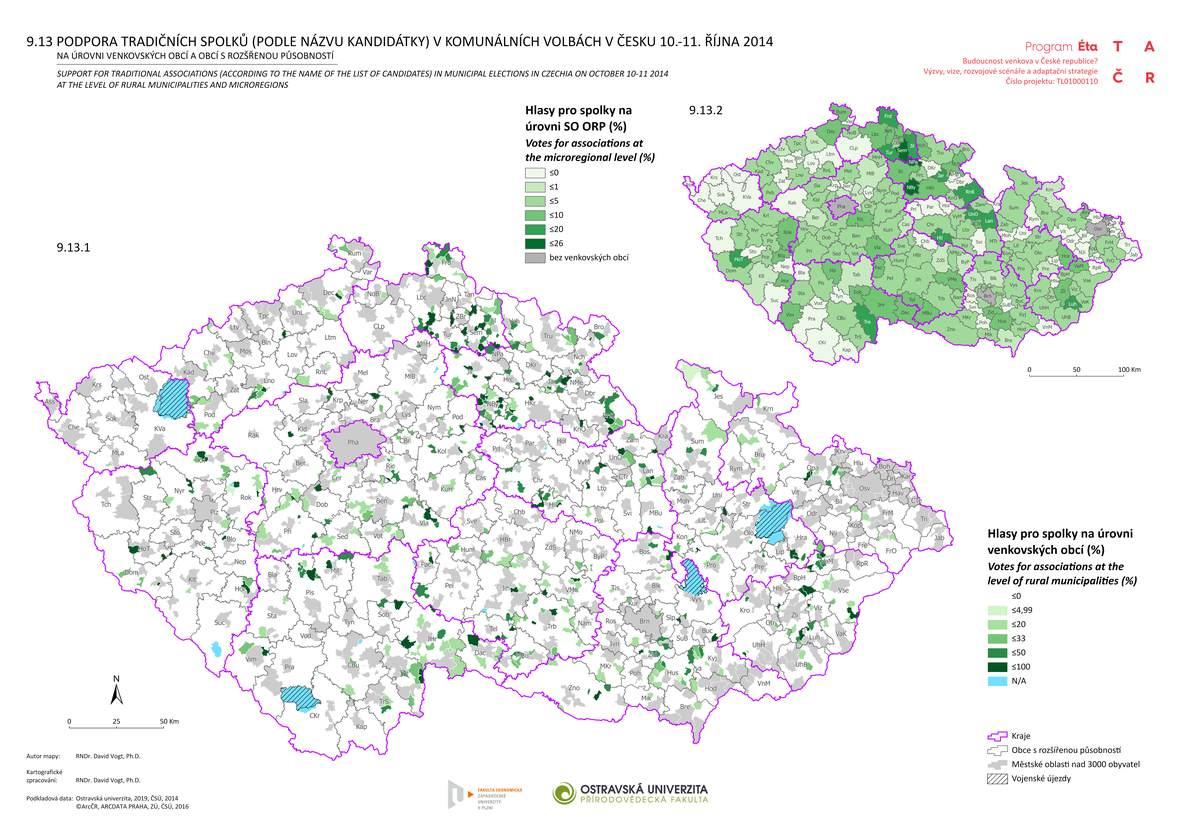 Podpora tradičních spolků (podle názvu kandidátky) v komunálních volbách v Česku 10.-11. října 2014 na úrovni venkovských obcí a obcí s rozšířenou působností
