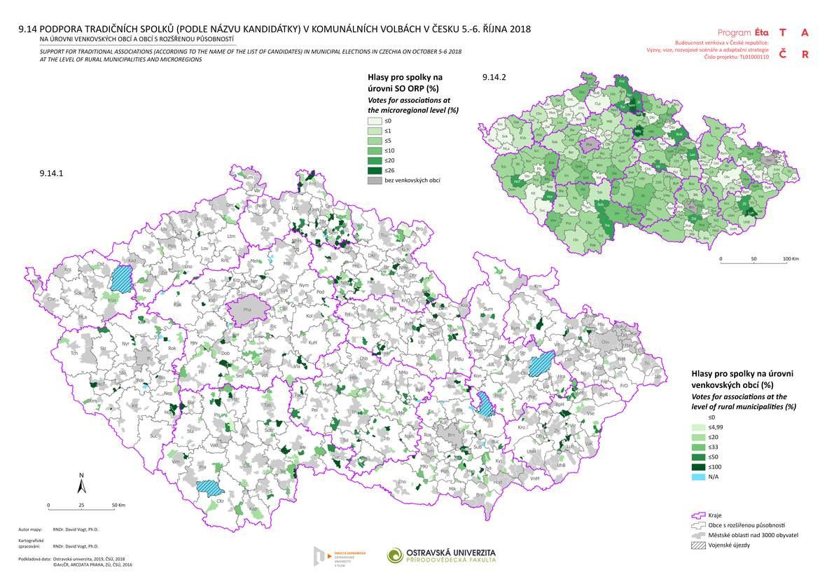 Podpora tradičních spolků (podle názvu kandidátky) v komunálních volbách v Česku 5.-6. října 2018 na úrovni venkovských obcí a obcí s rozšířenou působností