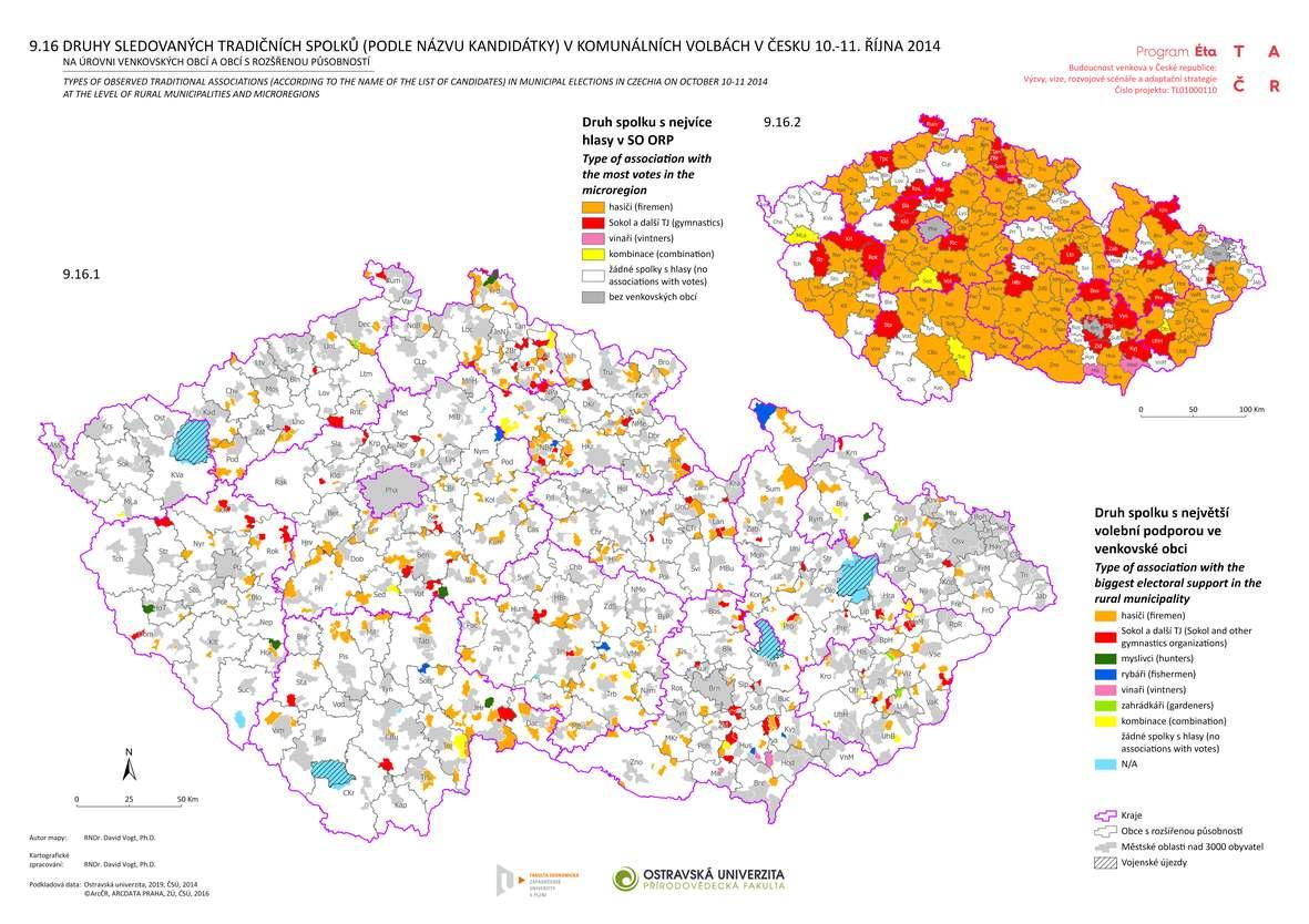 Druhy sledovaných tradičních spolků (podle názvu kandidátky) v komunálních volbách v Česku 10.–11. října 2014 na úrovni venkovských obcí a obcí s rozšířenou působností