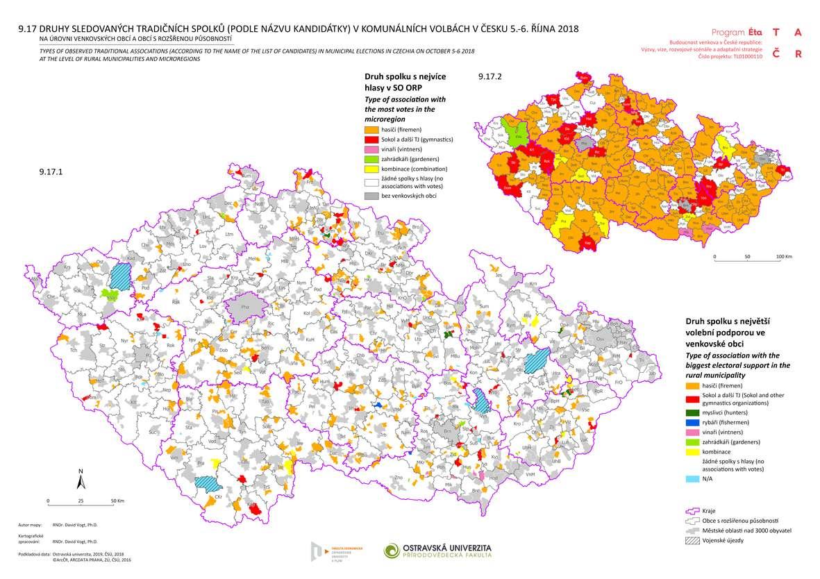 Druhy sledovaných tradičních spolků (podle názvu kandidátky) v komunálních volbách v Česku 5.-6. října 2018 na úrovni venkovských obcí a obcí s rozšířenou působností