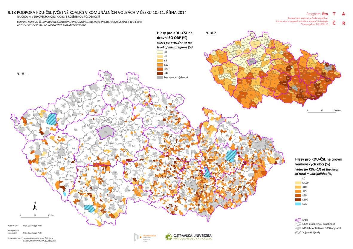 Podpora KDU-ČSL (včetně koalic) v komunálních volbách v Česku 10.-11. října 2014 na úrovni venkovských obcí a obcí s rozšířenou působností