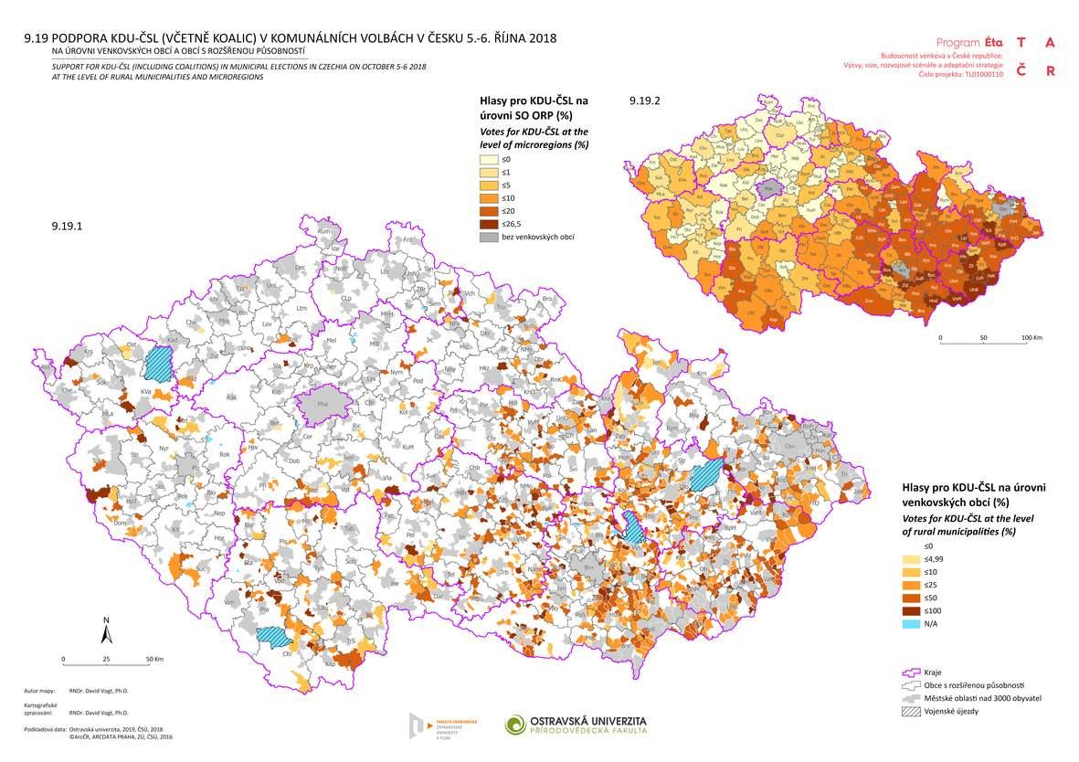 Podpora KDU-ČSL (včetně koalic) v komunálních volbách v Česku 5.-6. října 2018 na úrovni venkovských obcí a obcí s rozšířenou působností