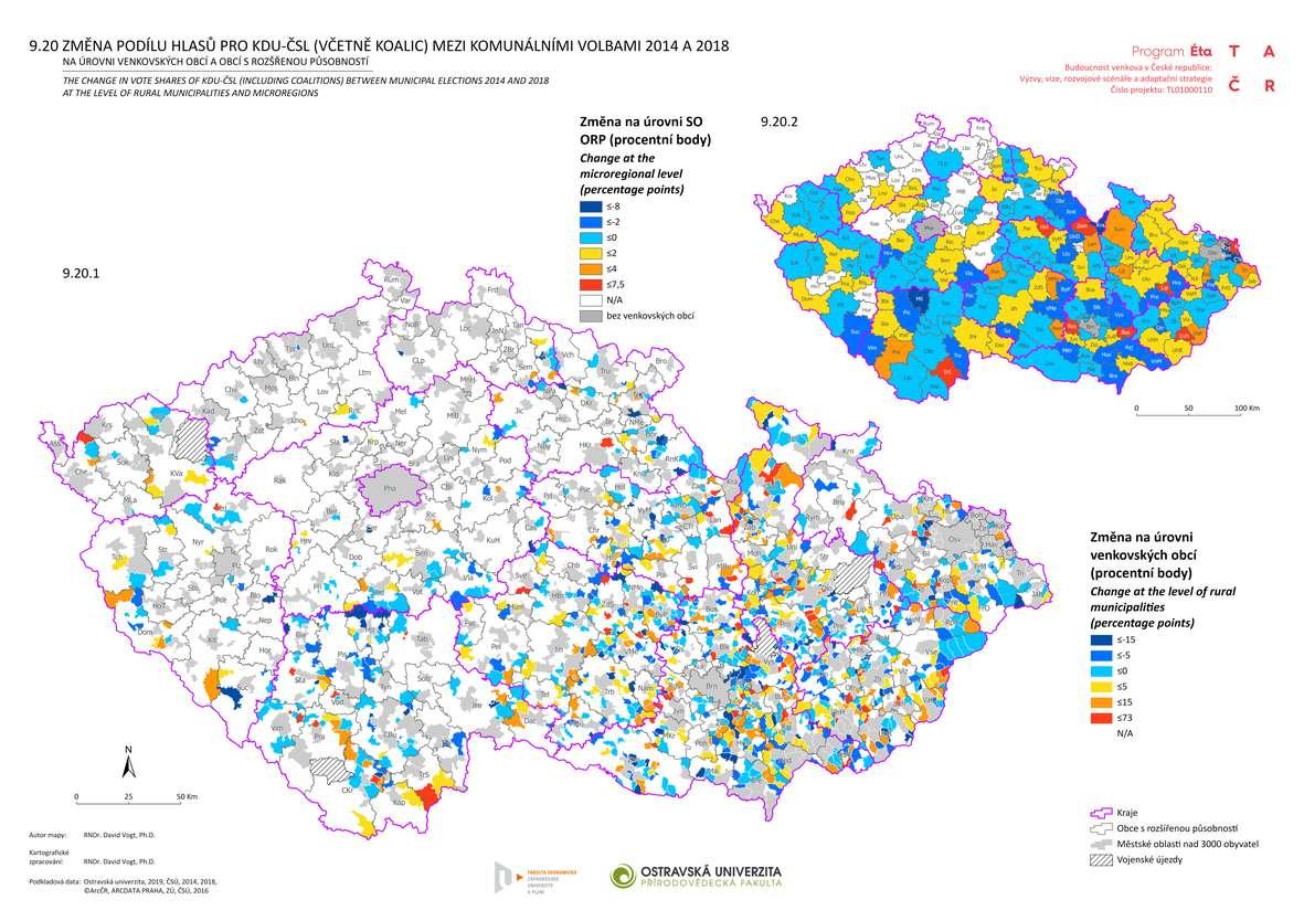 Změna podílu hlasů pro KDU-ČSL (včetně koalic) mezi komunálními volbami 2014 a 2018 na úrovni venkovských obcí a obcí s rozšířenou působností
