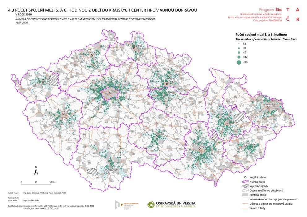 Počet spojení mezi 5. a 6. hodinou z obcí do krajských center hromadnou dopravou v roce 2020