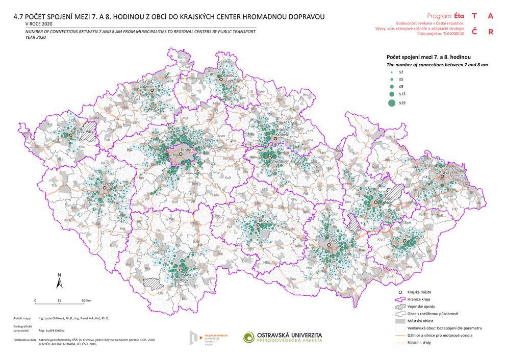 Počet spojení mezi 7. a 8. hodinou z obcí do krajských center hromadnou dopravou v roce 2020