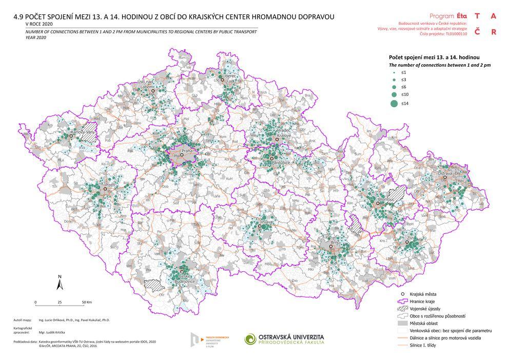 Počet spojení mezi 13. a 14. hodinou z obcí do krajských center hromadnou dopravou v roce 2020