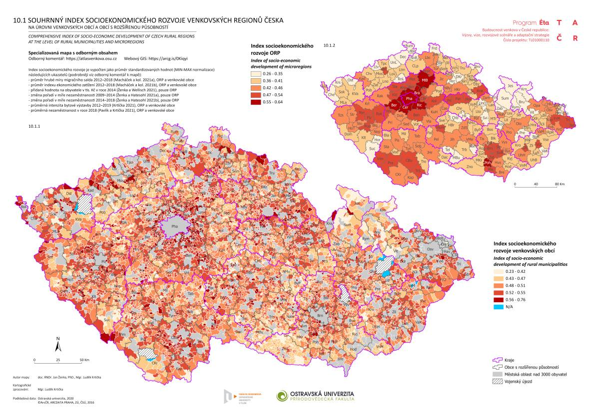 Souhrnný index socioekonomického rozvoje venkovských regionů Česka na úrovni venkovských obcí a obcí s rozšířenou působností