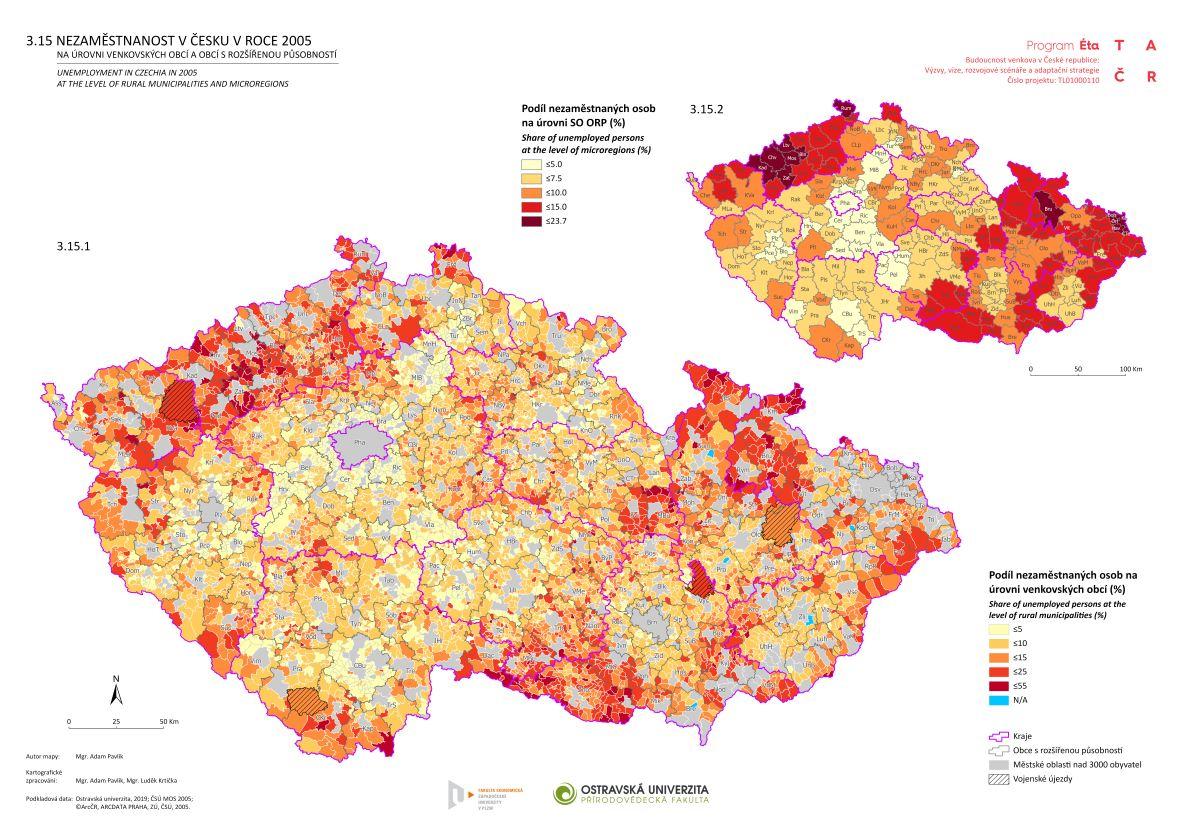 Nezaměstnanost v Česku v roce 2005 na úrovni venkovských obcí a obcí s rozšířenou působností