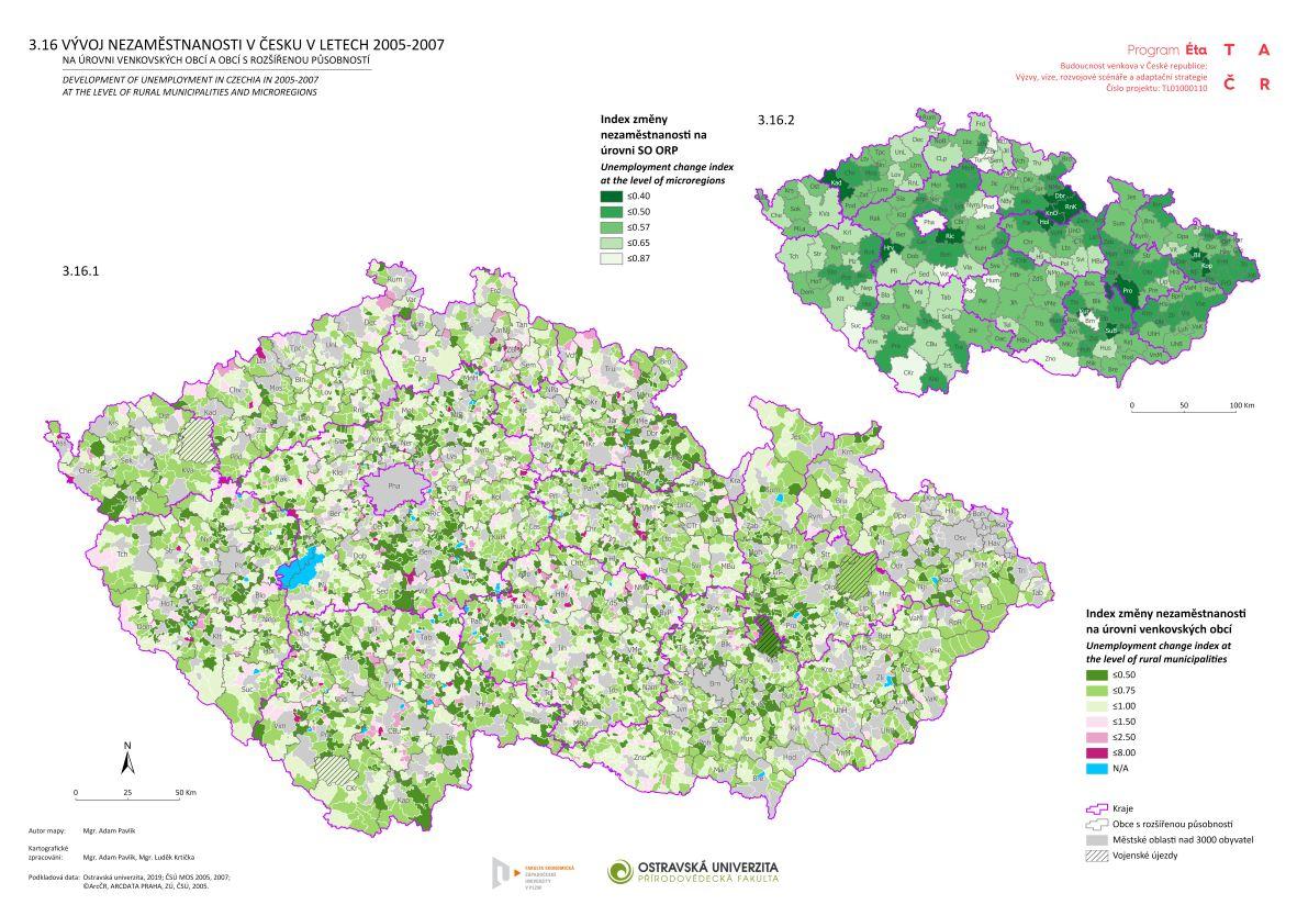 Vývoj nezaměstnanosti v Česku v letech 2005–2007 na úrovni venkovských obcí a obcí s rozšířenou působností