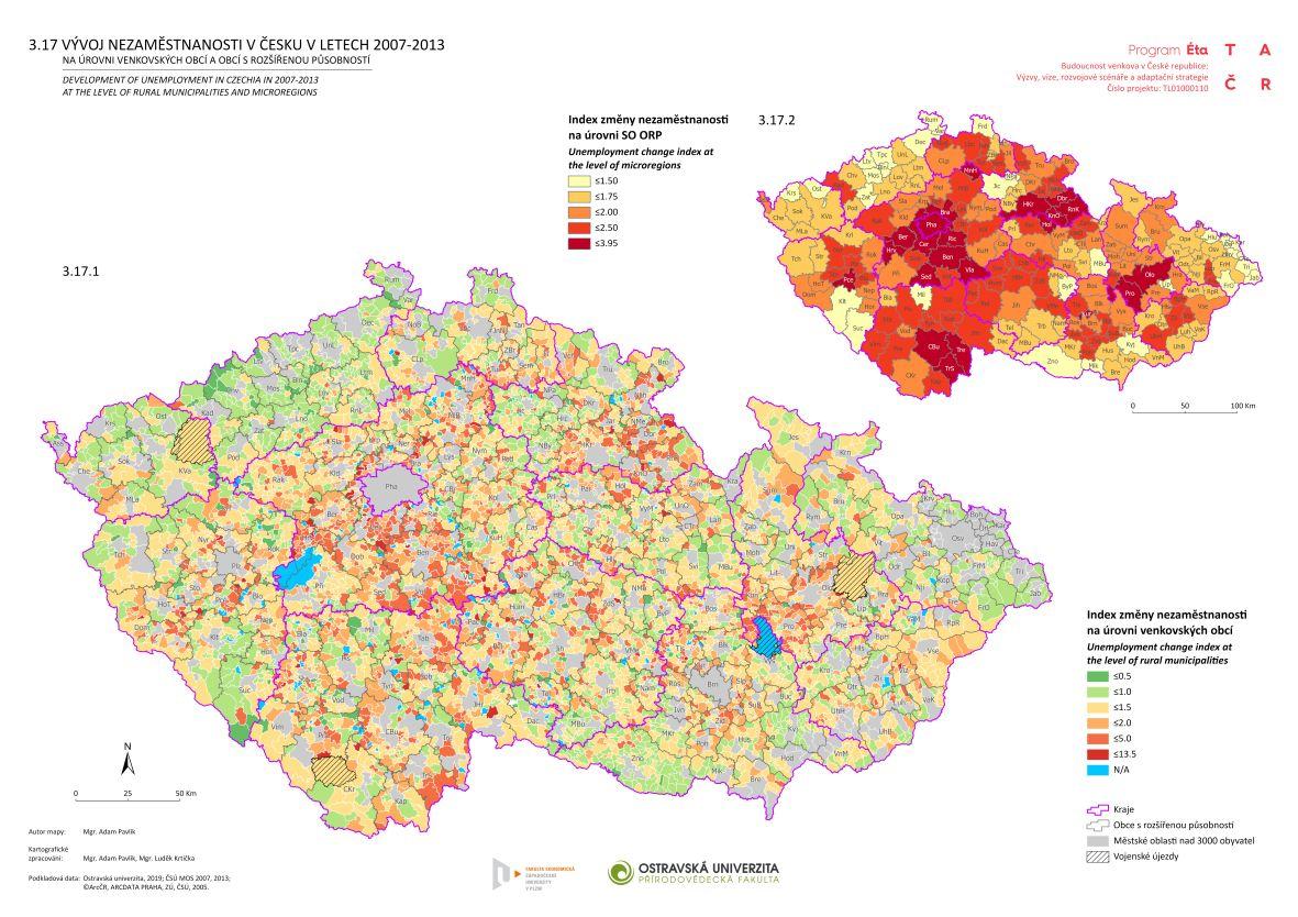 Vývoj nezaměstnanosti v Česku v letech 2007–2013 na úrovni venkovských obcí a obcí s rozšířenou působností