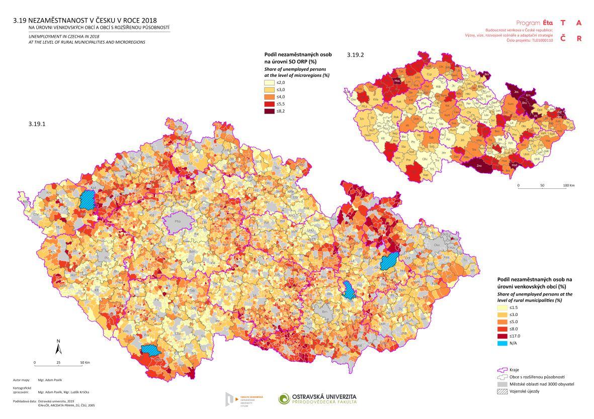Nezaměstnanost v Česku v roce 2018 na úrovni venkovských obcí a obcí s rozšířenou působností