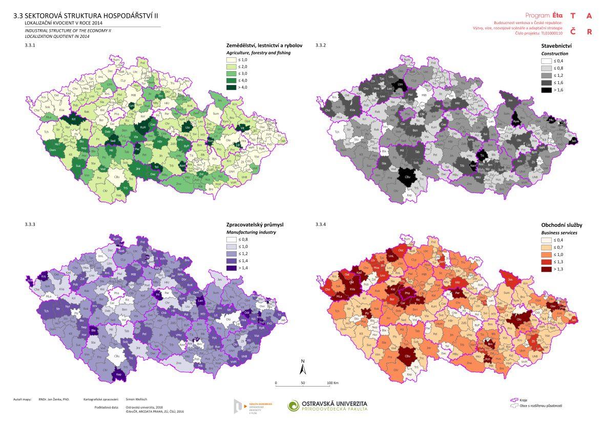 Sektorová struktura hospodářství II.: lokalizační kvocient v roce 2014