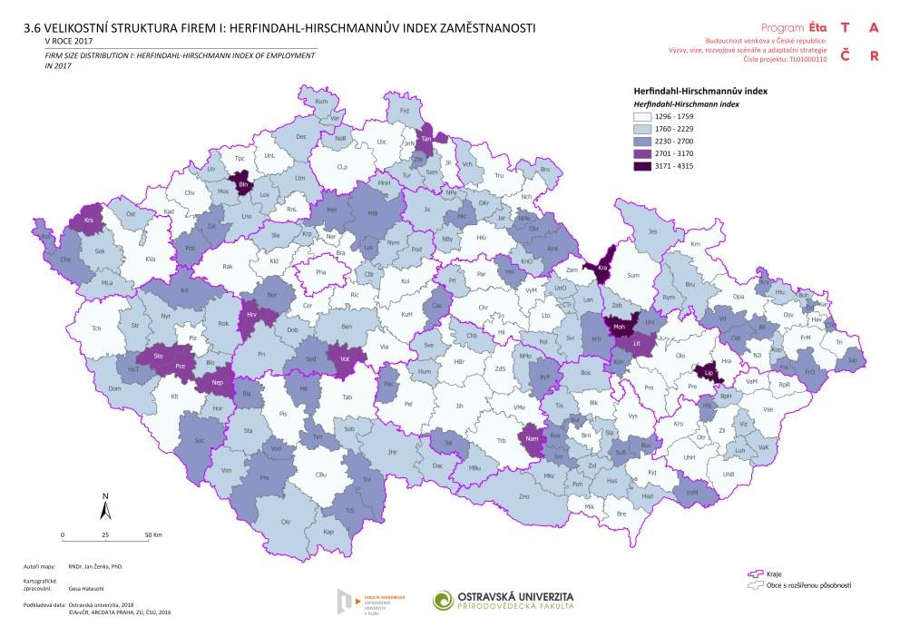 Velikostní struktura firem I: Herfindahl-Hirschmannův index zaměstnanosti v roce 2017