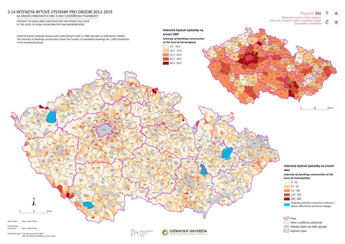 Intenzita bytové výstavby pro období 2012–2019 na úrovni venkovských obcí a obcí s rozšířenou působností