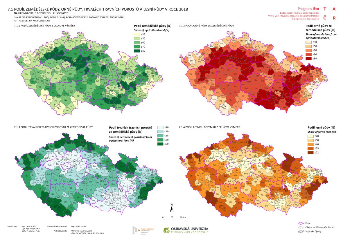 Podíl zemědělské půdy, orné půdy, trvalých travních porostů a lesní půdy v roce 2018 na úrovni obcí s rozšířenou působností