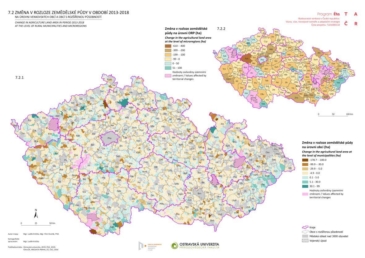 Změna v rozloze zemědělské půdy v období 2013–2018 na úrovni venkovských obcí a obcí s rozšířenou působností