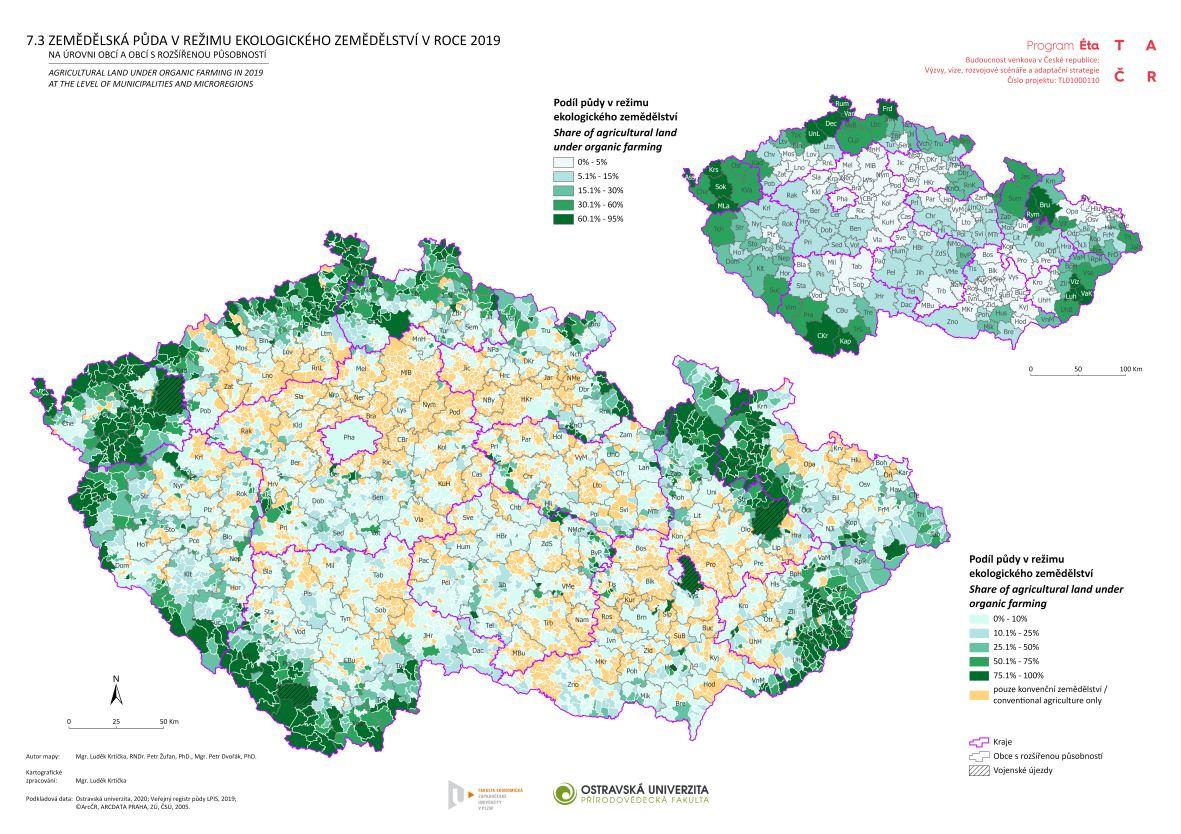 Zemědělská půda v režimu ekologického zemědělství v roce 2019 na úrovni obcí a obcí s rozšířenou působností