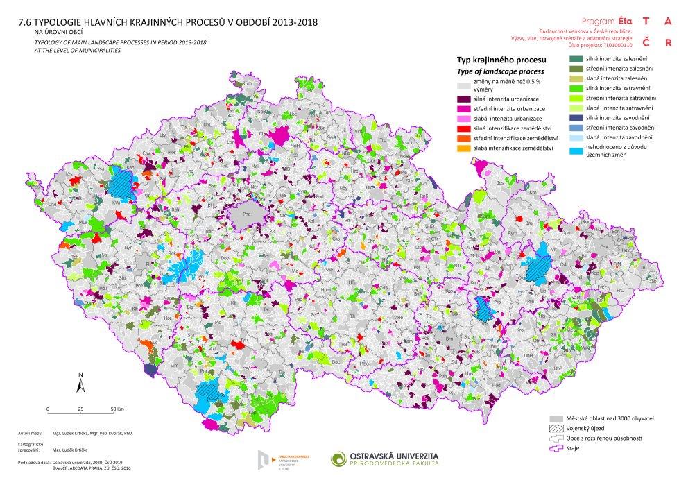 Typologie hlavních krajinných procesů v období 2013–2018 na úrovni venkovských obcí